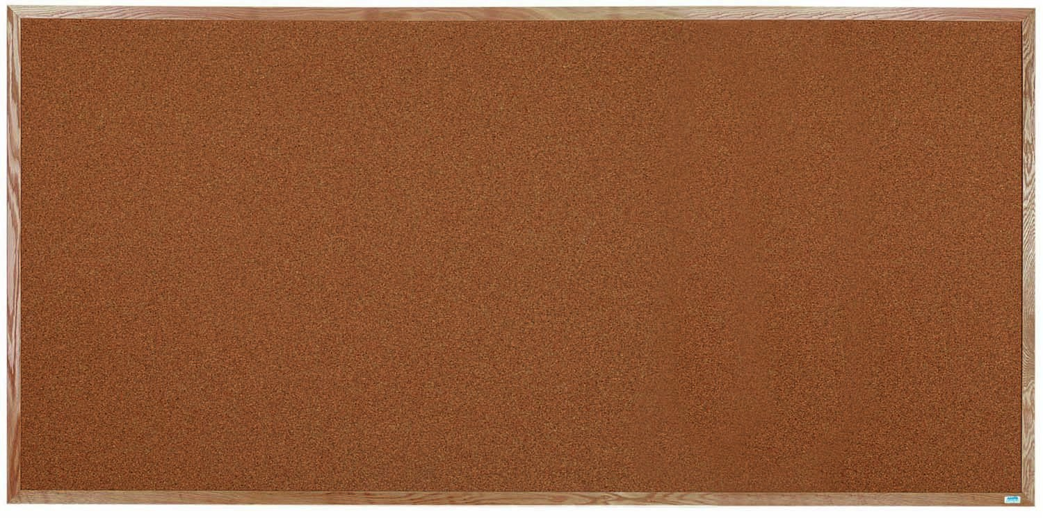 """Aarco Products OB4896 Natural Pebble Grain Cork Bulletin Board with Red Oak Frame 48""""H x 96""""W"""