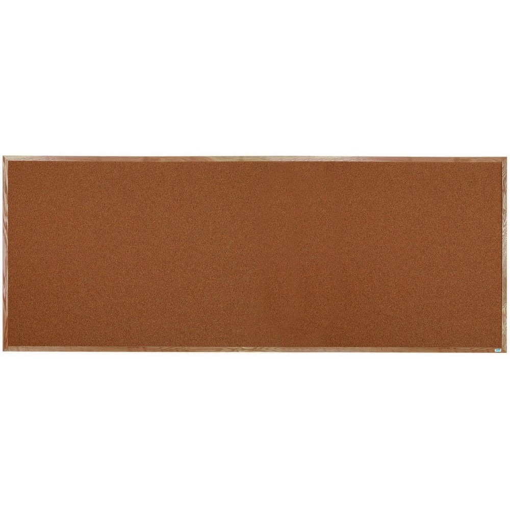 "Aarco Products OB48120 Natural Pebble Grain Cork Bulletin Board with Red Oak Frame 48""H x 120""W"