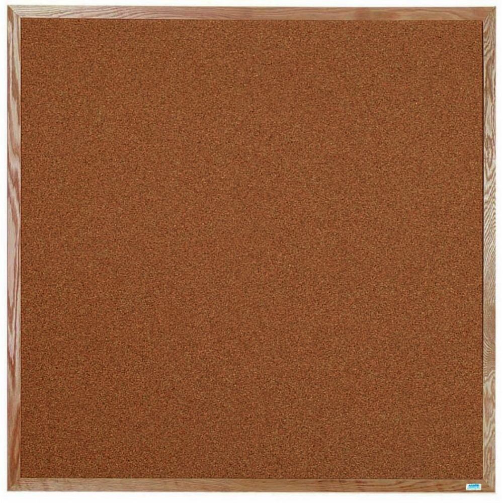 "Aarco Products OB4848 Natural Pebble Grain Cork Bulletin Board with Red Oak Frame 48""H x 48""W"
