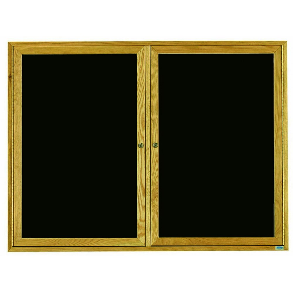 "Aarco Products ODC4872 Oak Frame Enclosed 2-Door Directory Cabinet, 48""H x 72""W"