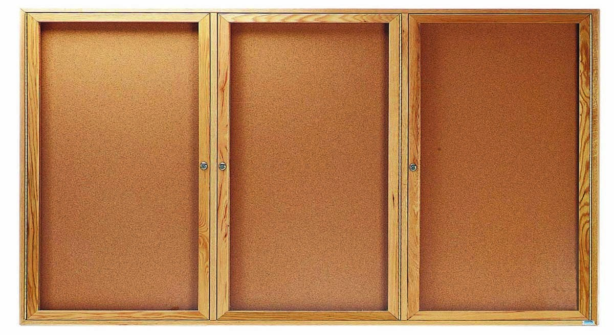 Oak Frame Enclosed Bulletin Board Cabinet - 36