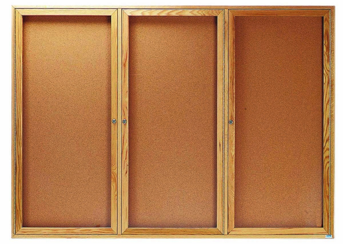 """Aarco Products OBC4872-3R 3 Door Enclosed Bulletin Board with Oak Finish, 48""""H x 72""""W"""