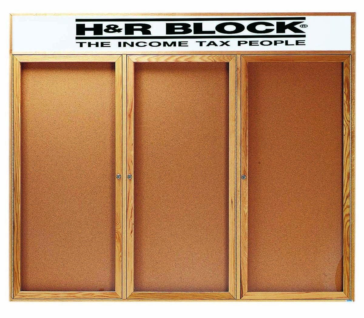 """Aarco Products OBC4872-3RH 3 Door Enclosed Bulletin Board with Header and Oak Finish, 48""""H x 72""""W"""