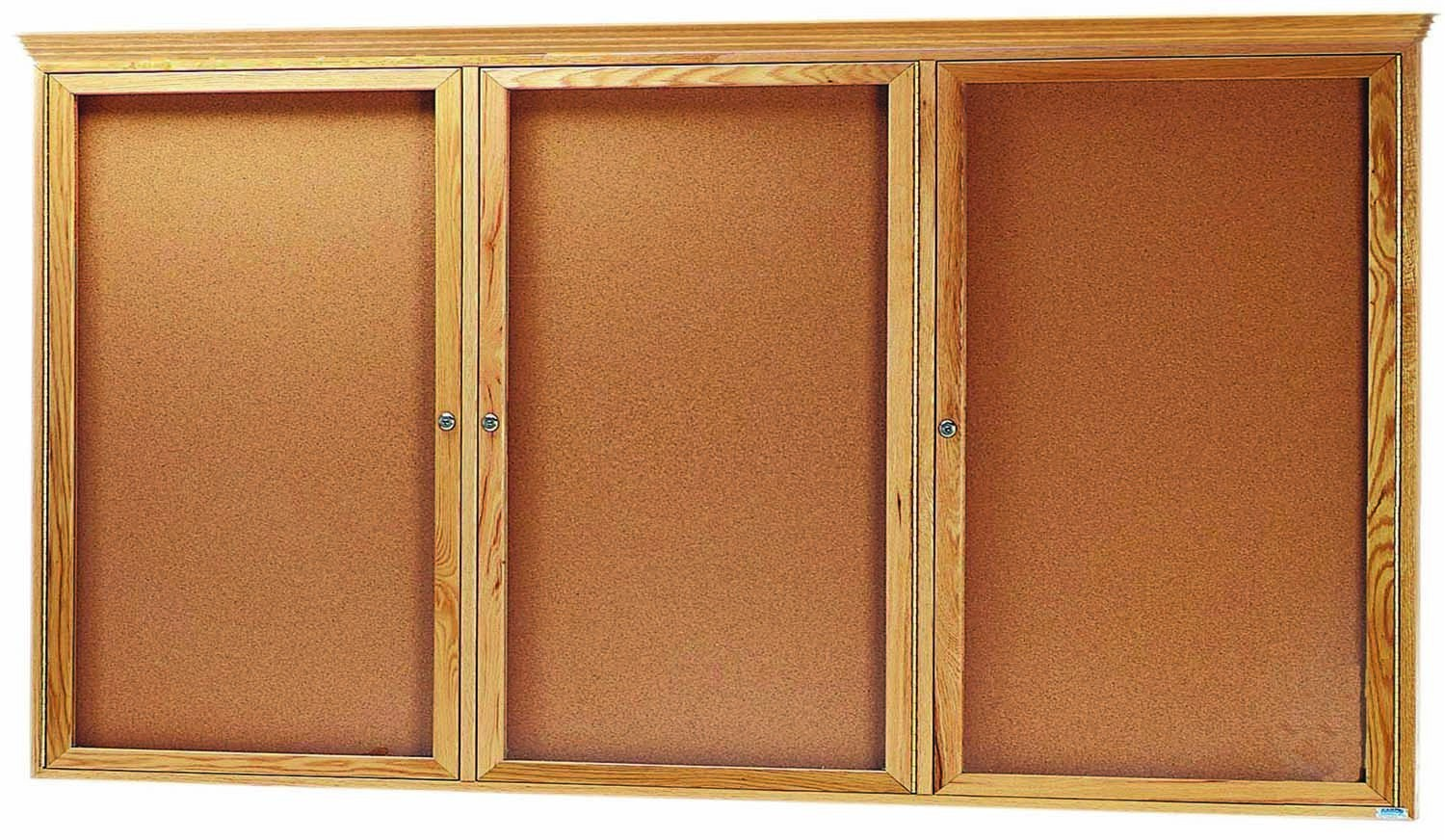 "Aarco Products OBC4896RC 3 Door Enclosed Bulletin Board with Crown Molding and Oak Finish 48""H x 96""W"