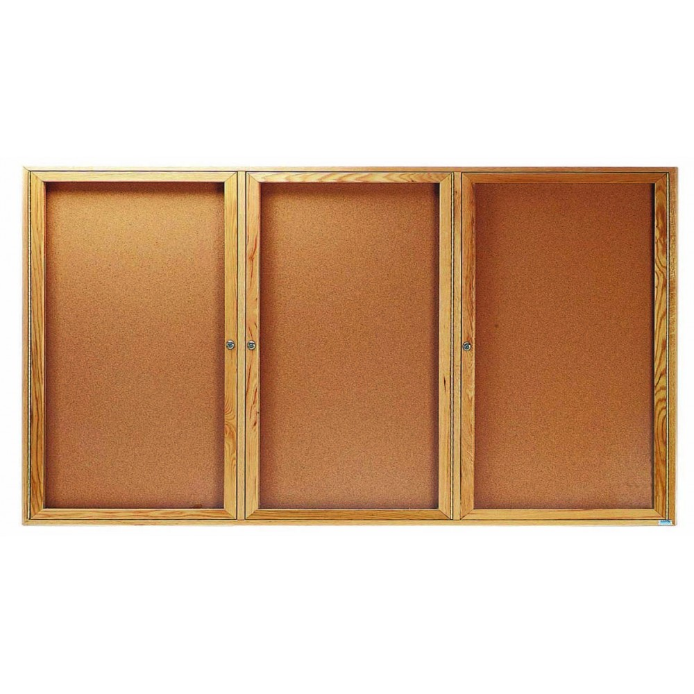 "Aarco Products OBC3672-3R 3 Door Enclosed Bulletin Board with Oak Finish 36""H x 72""W"