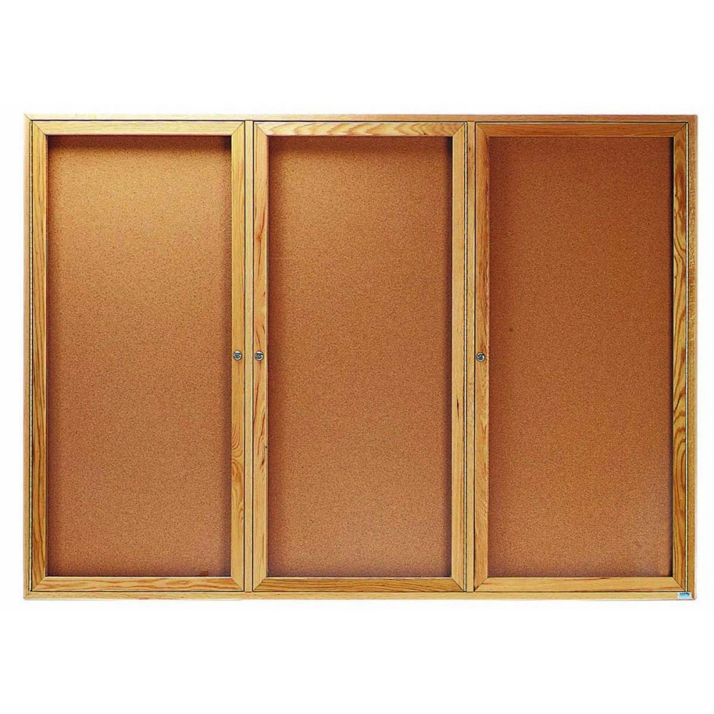 "Aarco Products OBC4872-3R 3 Door Enclosed Bulletin Board with Oak Finish, 48""H x 72""W"