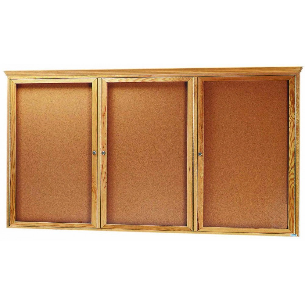 "Aarco Products OBC3672RC 3 Door Enclosed Bulletin Board with Crown Molding and Oak Finish 36""H x 72""W"