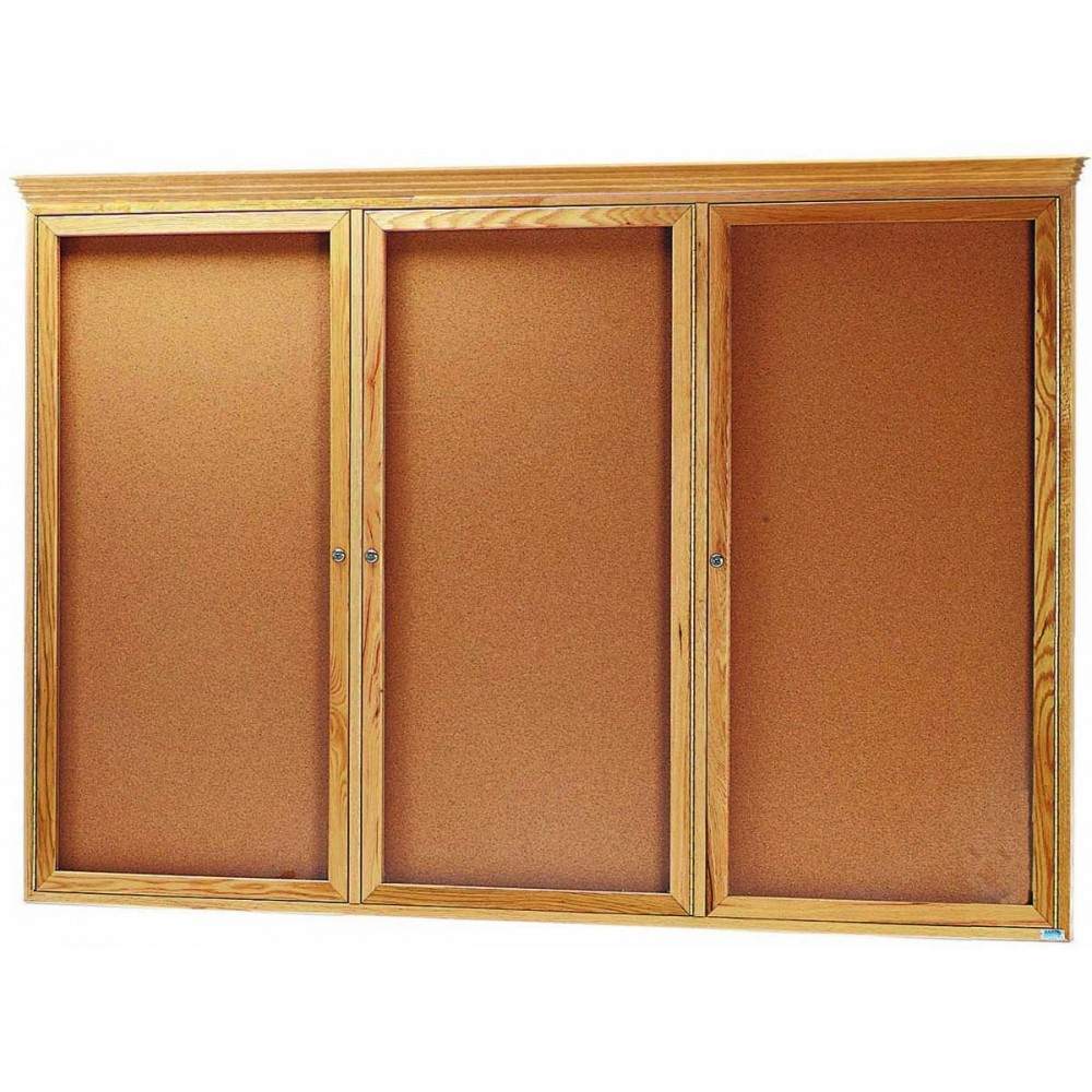 "Aarco Products OBC4872RC 3 Door Enclosed Bulletin Board with Crown Molding and Oak Finish 48""H x 72""W"