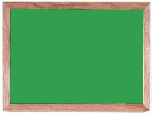 "Aarco Products OC1824G Green Composition Chalkboard with Red Oak Frame and Chalk Tray, 18""H x 24""W"