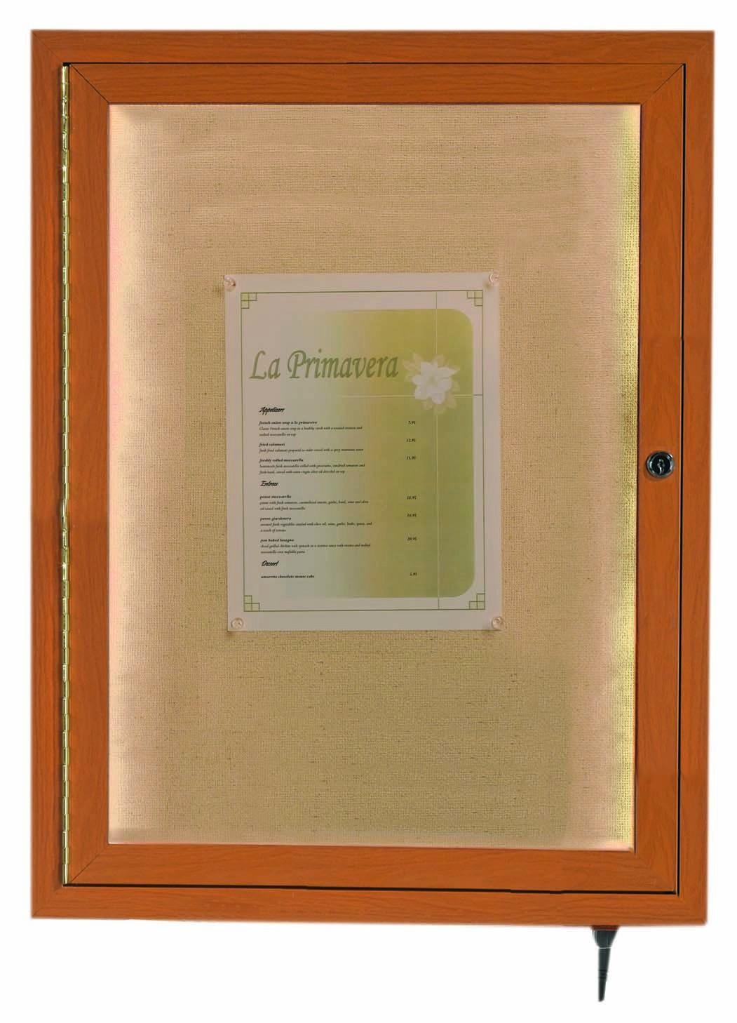 "Aarco Products LWL2418O Oak Indoor/Outdoor Menu Display Case 24""H x 18""W"