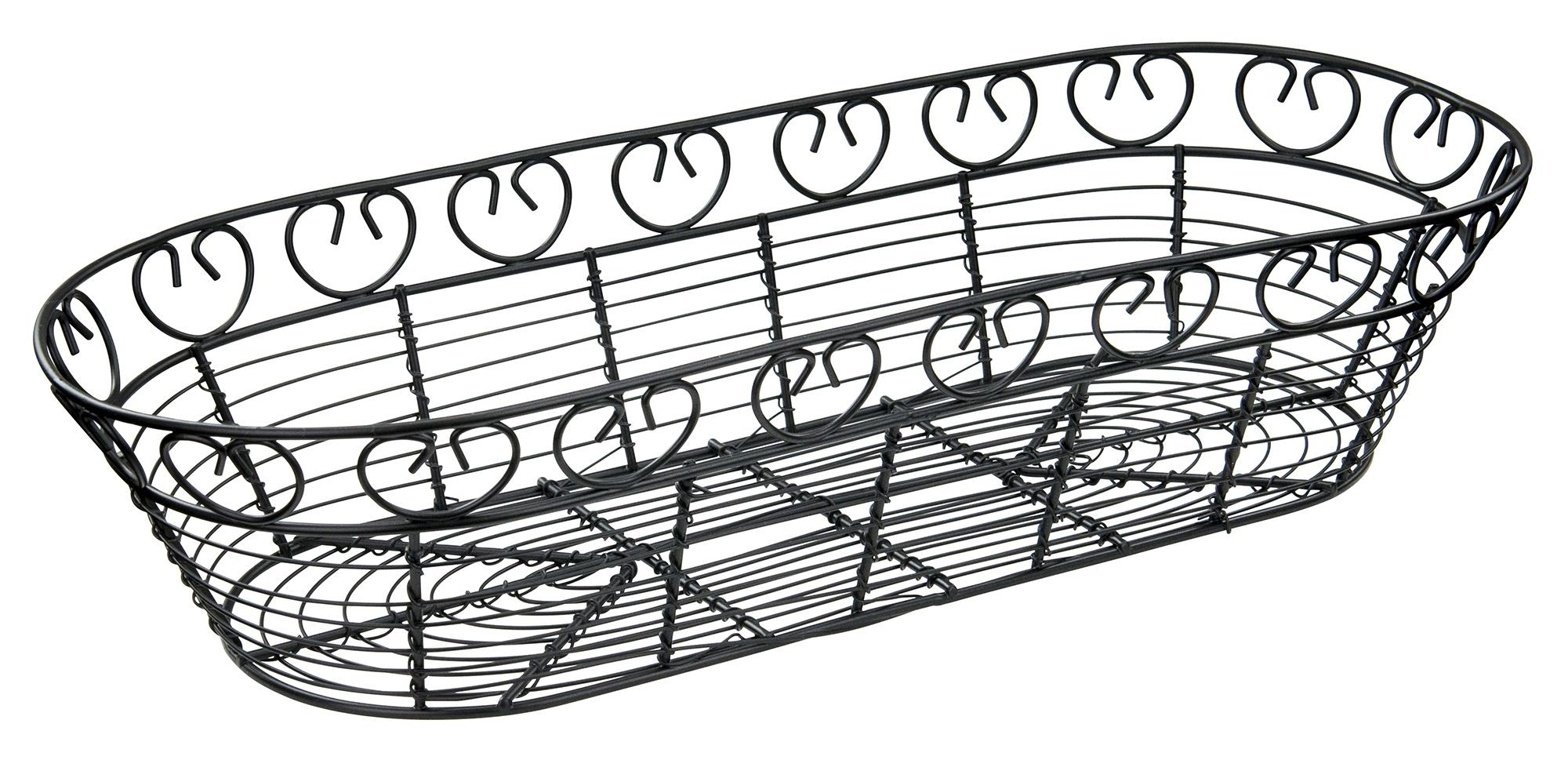 Oblong Black Metal Wire Bread Basket 15