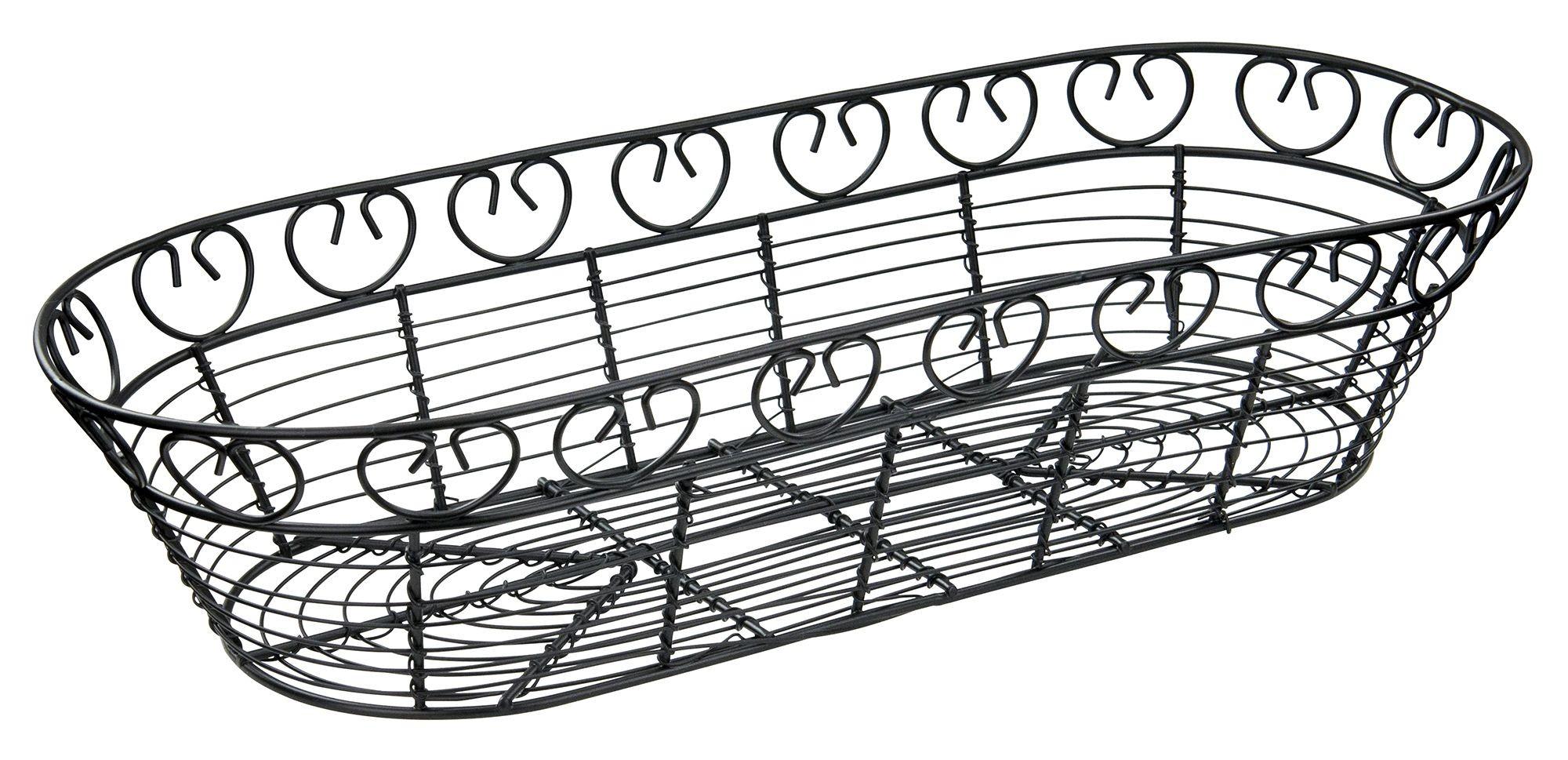 "Winco WBKG-15 Oblong Black Metal Wire Bread Basket 15"""