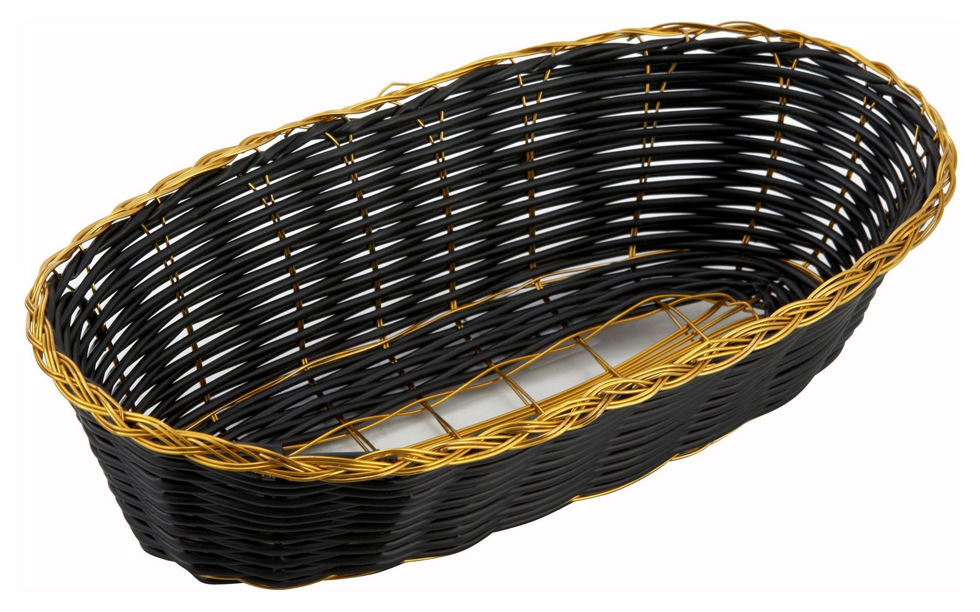 Oblong Black Poly Woven Basket With Gold Trim