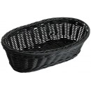 "Winco PWBK-94B Oblong Black Poly Woven Basket 9"" x 4-1/2"" x 3"""