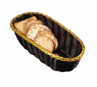 Oblong Black Vinyl Woven Sub Basket With Gold Metal Trim - 9