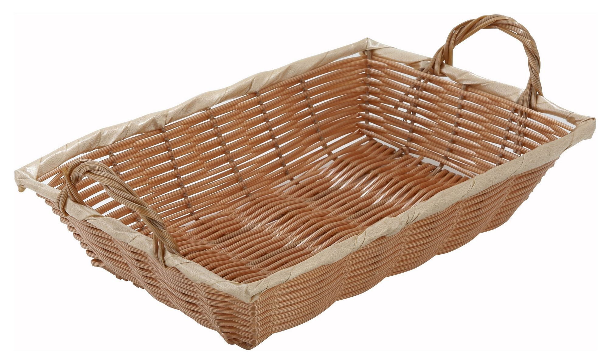 "Winco PWBN-12B Oblong Woven Basket with Handle 12"" x 8"" x 3"""