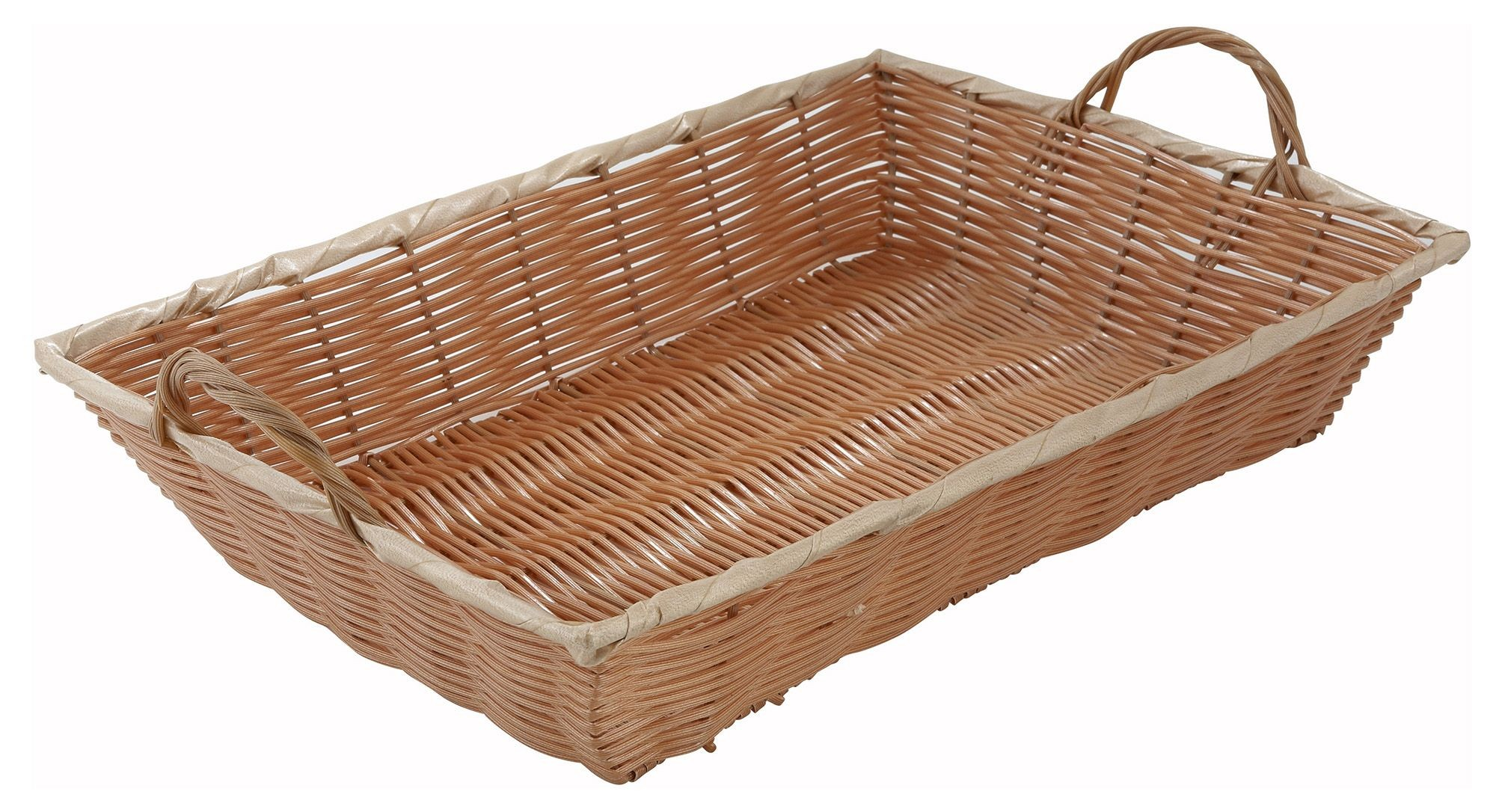 "Winco pwbn-16b Oblong Woven Basket with Handle 16""x 11"" x 3"""