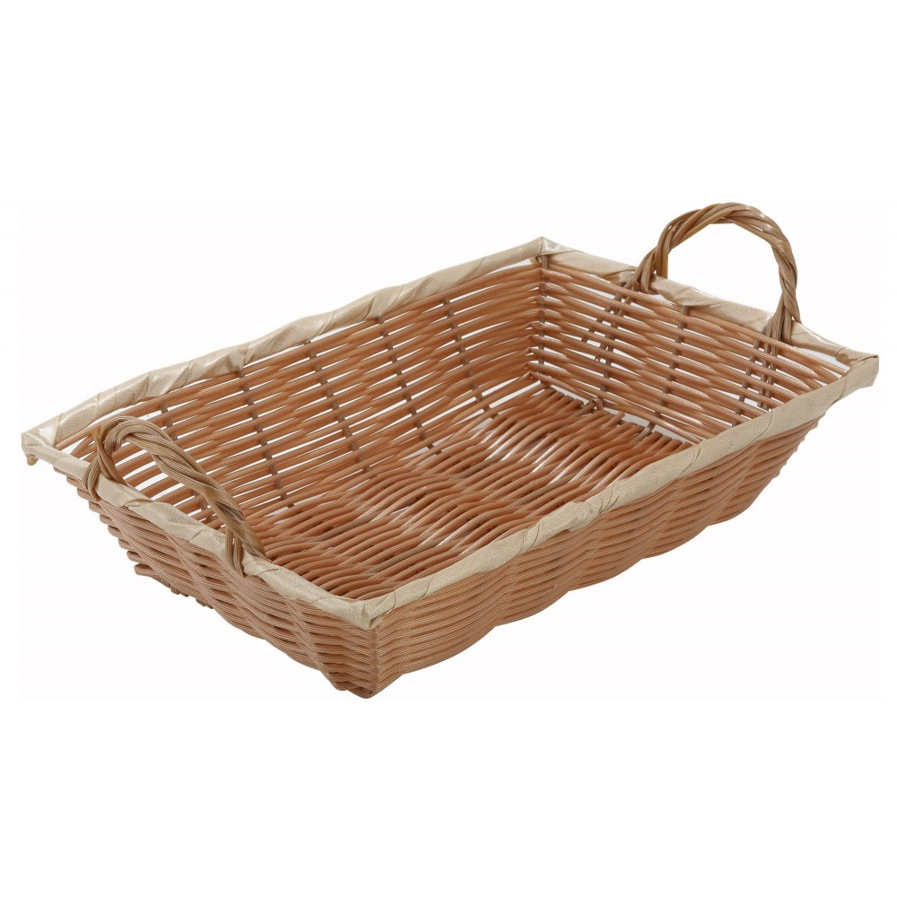 Oblong Natural Poly Woven Basket With Handle - 12 X 8 X 3