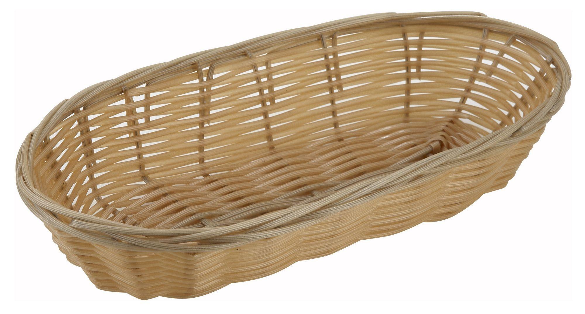 """Winco PWBN-9B Oblong Natural Woven Basket 9"""" x 4-1/4"""" x 2"""""""