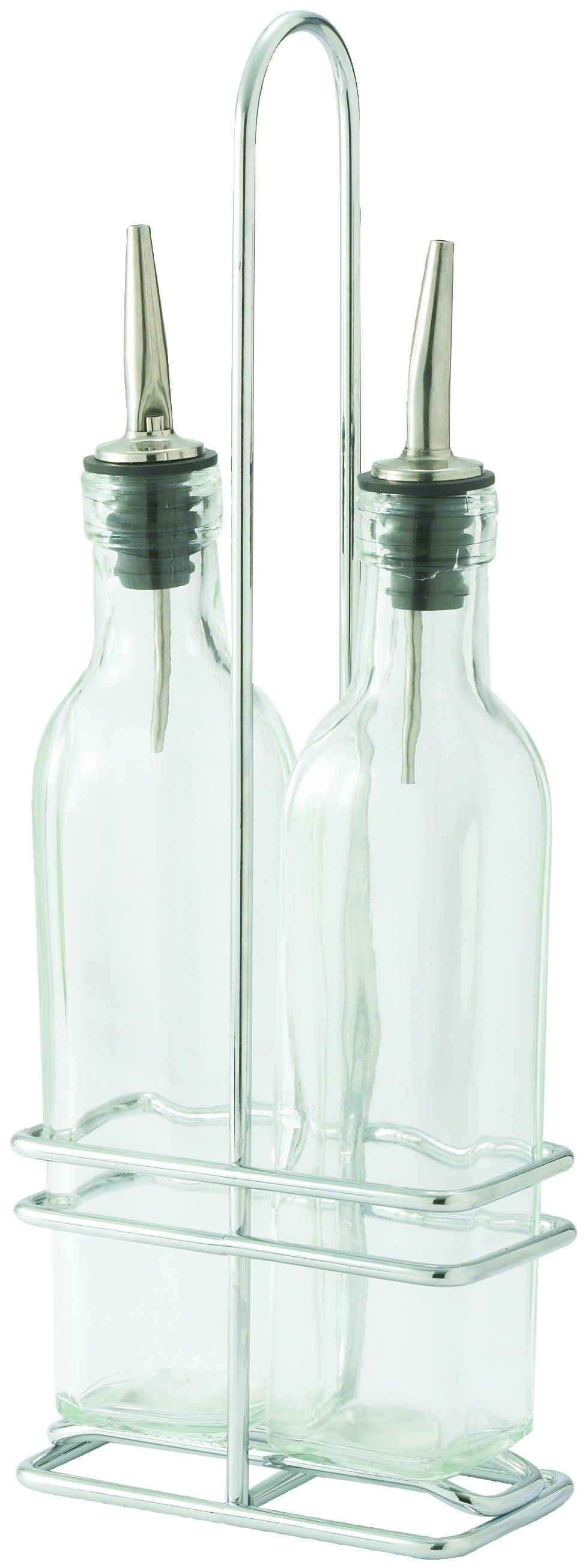 Oil/Vinegar Cruet Set (Two 8 Oz. Cruet With Pourers + One Rack)