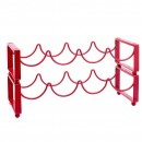 Old Dutch International 088RD2 4-Bottle Red Stackable Wine Rack, Set of 2