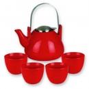 Old Dutch International 1010RD Red Cast Iron Sakura Teapot, 37 oz.