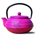 Old Dutch International 1033FS Fuchsia Cast Iron Ginkgo Teapot, 22 oz.