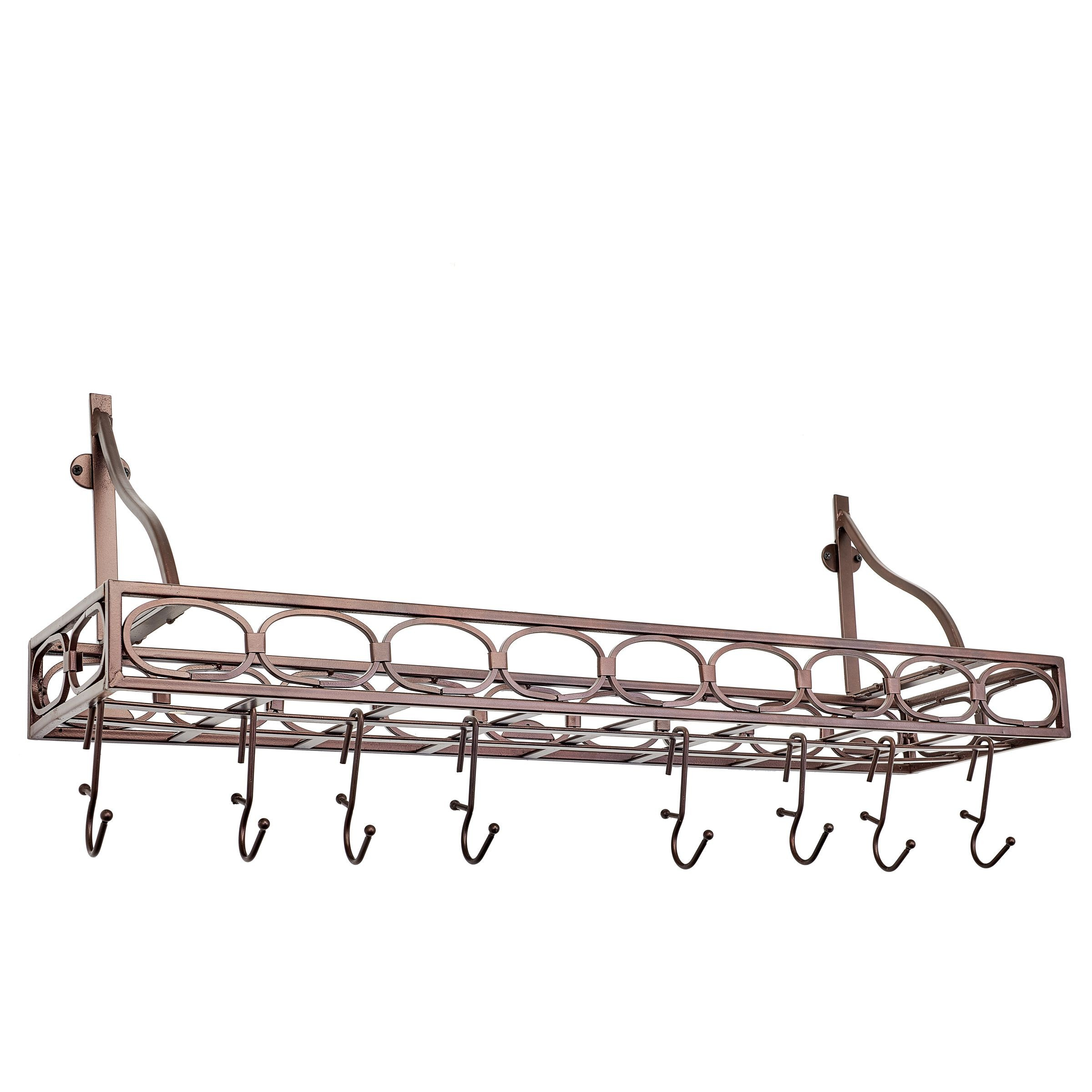 "Old Dutch International 103BZ Wall-Mount Bookshelf Pot Rack with 8 Hooks, Oiled Bronze, 36 1/4"" x 9"" x 12"""