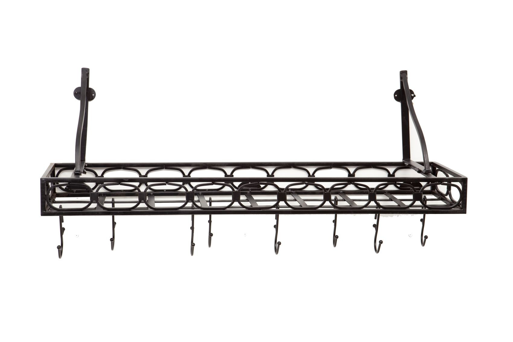 "Old Dutch International 103MB Wall-Mount Bookshelf Pot Rack with 8 Hooks, Matte Black , 36 1/4"" x 9"" x 12"""