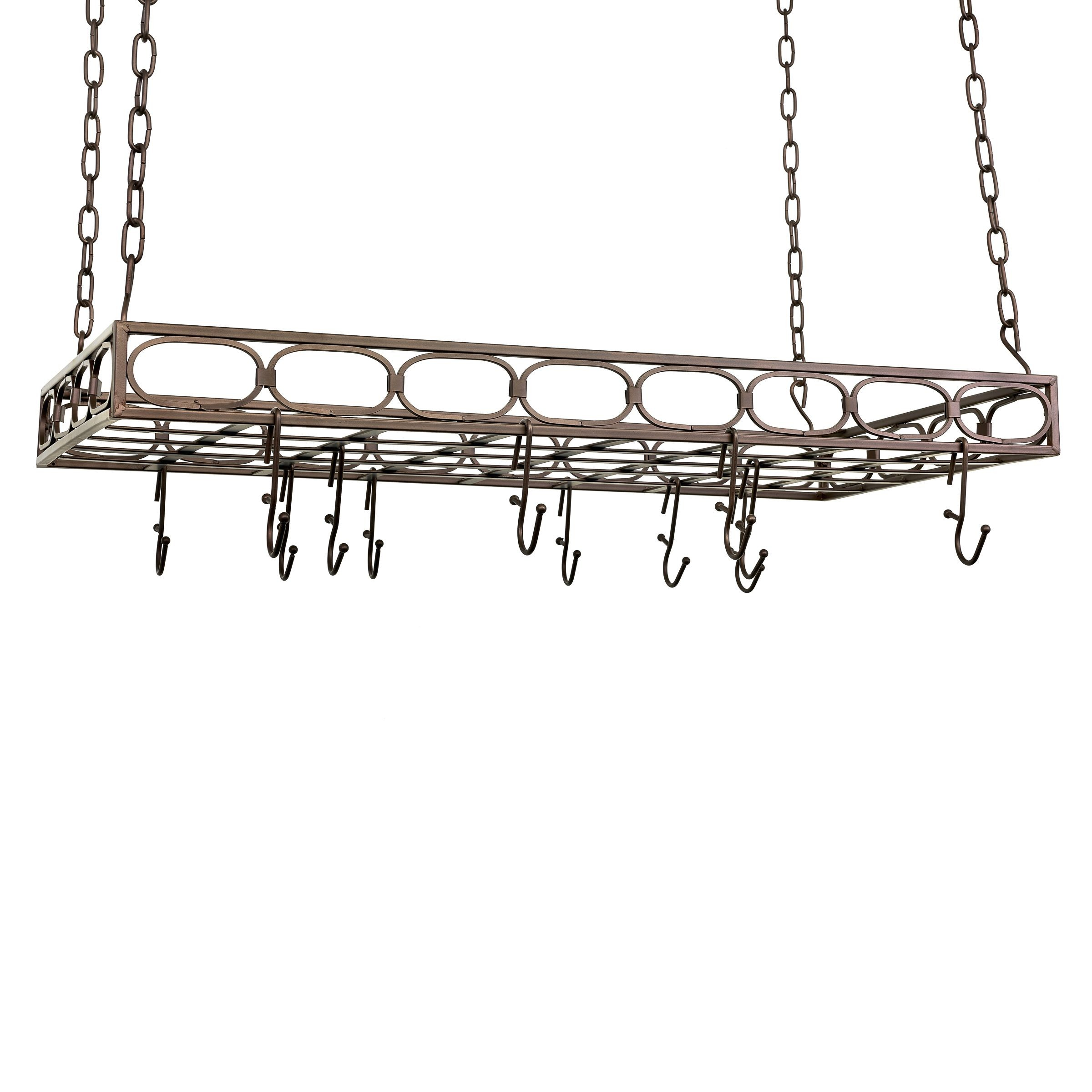 "Old Dutch International 105BZ Rectangular Pot Rack with 16 Hooks, Oiled Bronze, 36"" x 17 3/4"" x 3 3/4"""