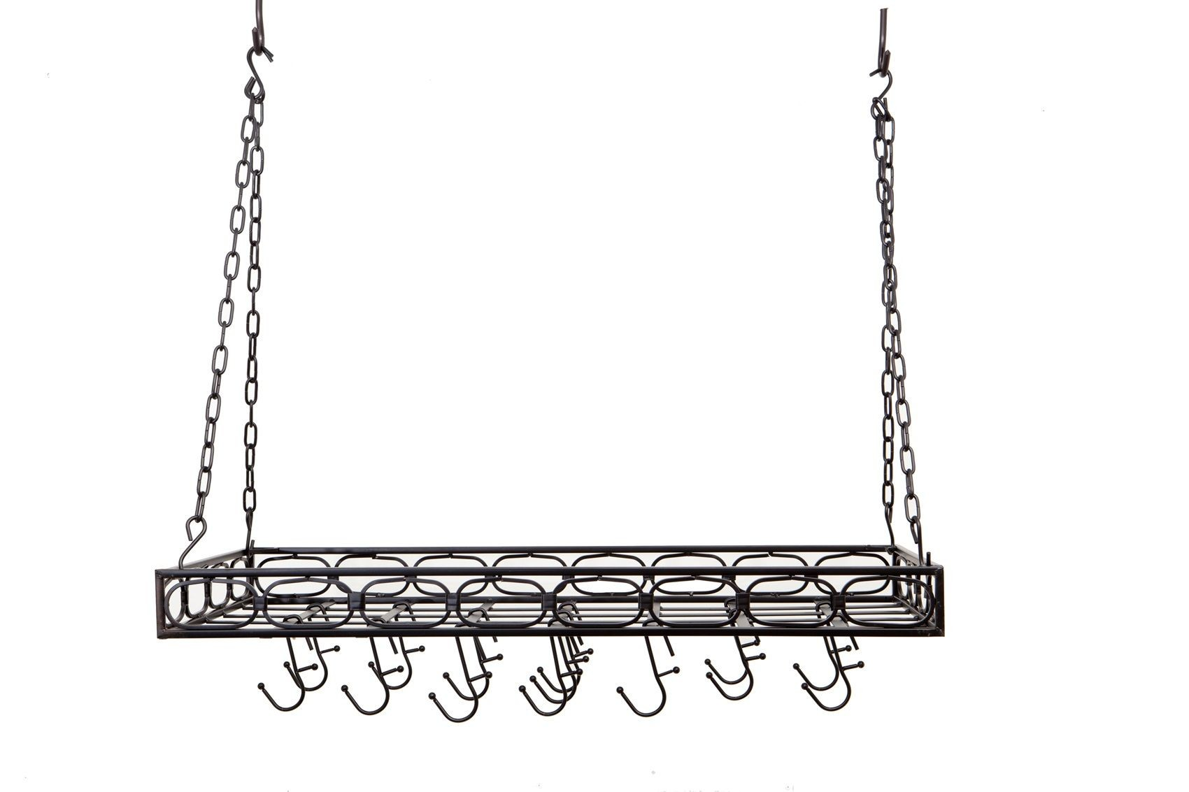 "Old Dutch International 105MB Rectangular Pot Rack with 16 Hooks, Matte Black , 36"" x 18"" x 3 1/4"""