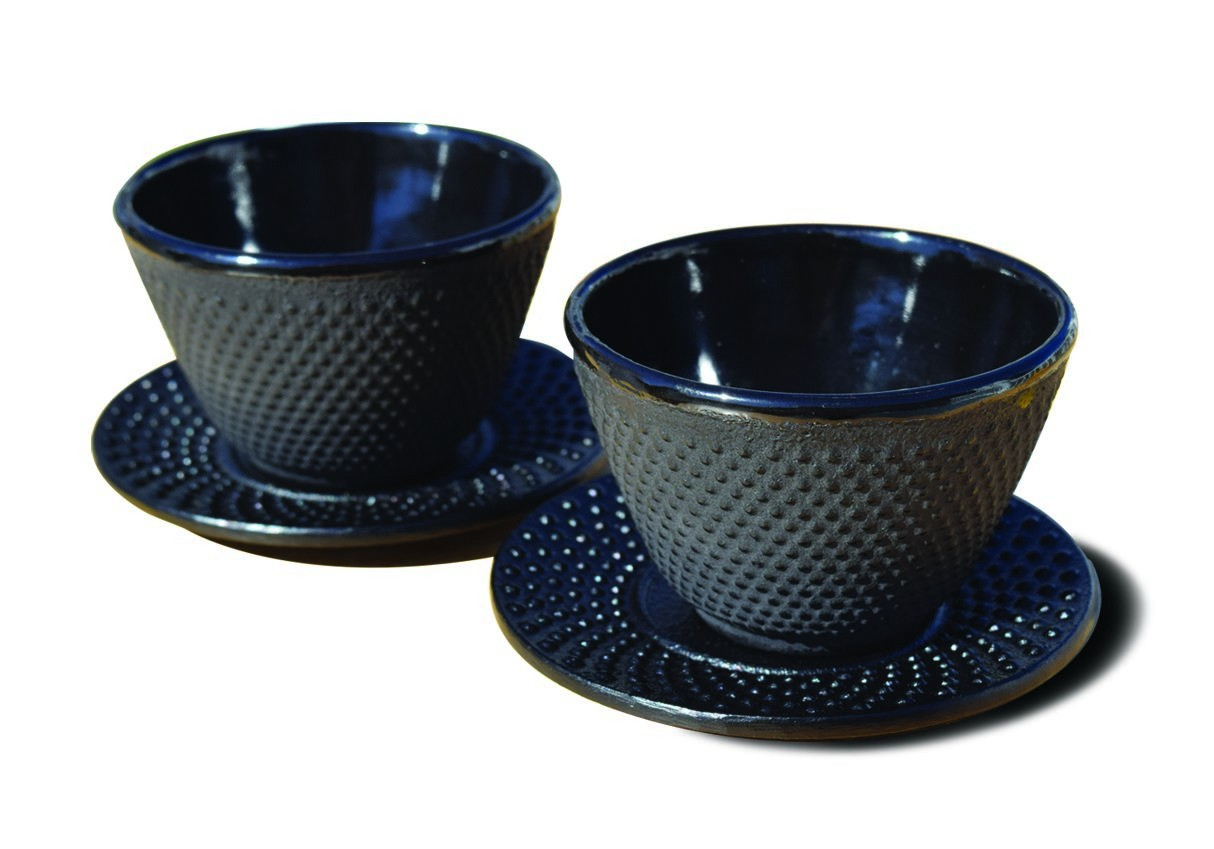 Old Dutch International 1080MB Matte Black Cast Iron Teacups and Saucers, Set of 2