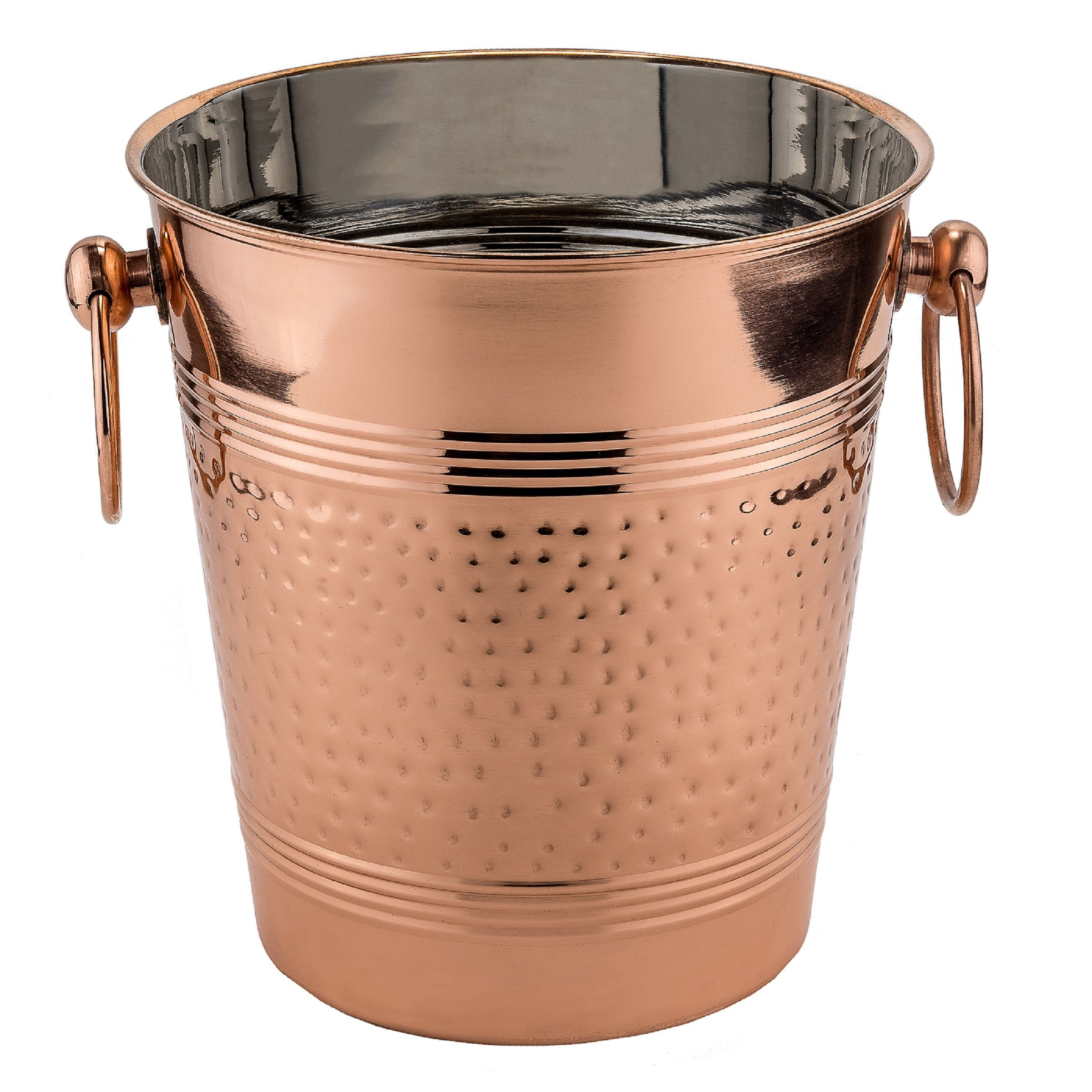Old Dutch International 1104 Fez Hammered Decor Copper Wine Cooler, 5 1/4 Qt.