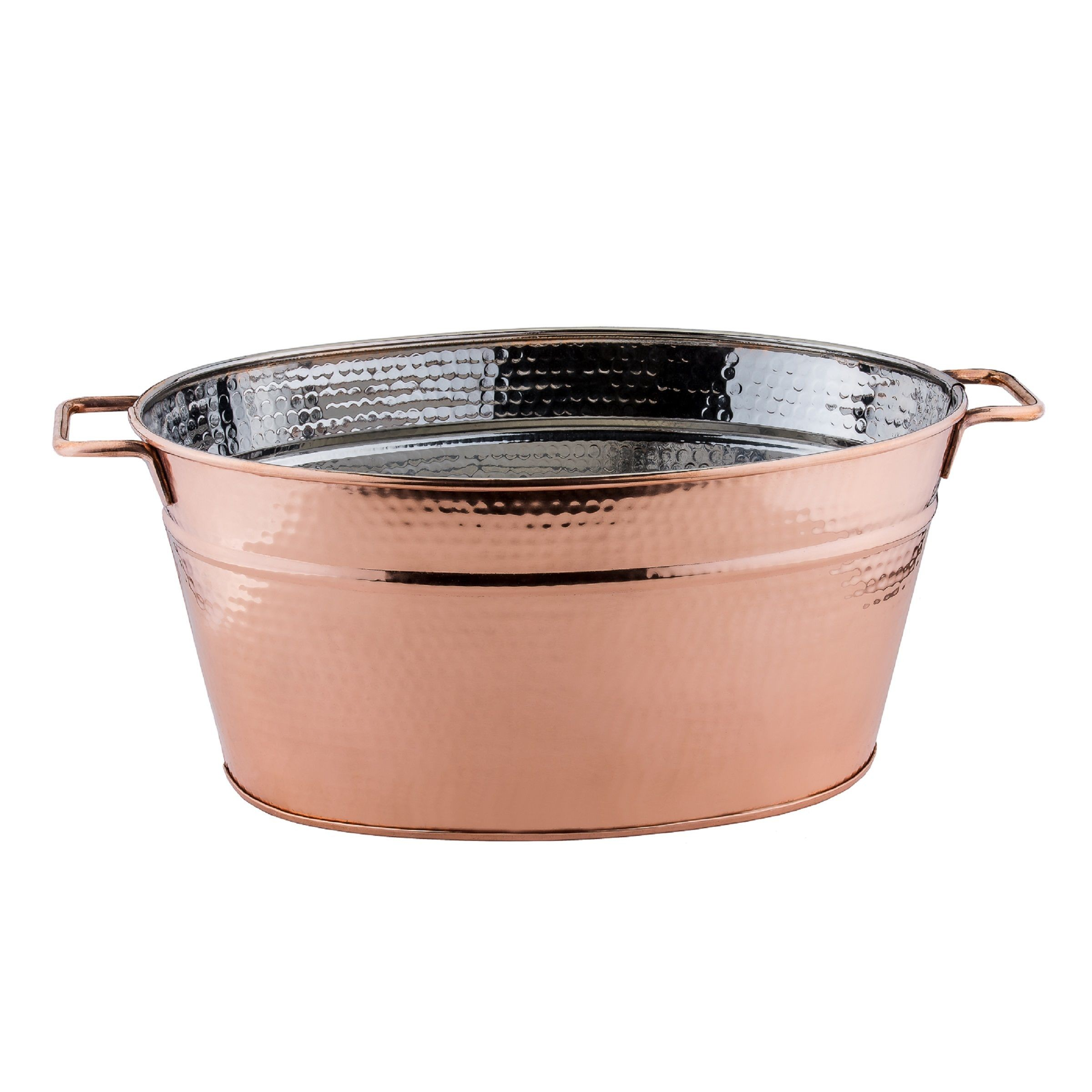Old Dutch International 1123 Hammered Decor Copper Oval Beverage Tub, 5 3/4 Gallon