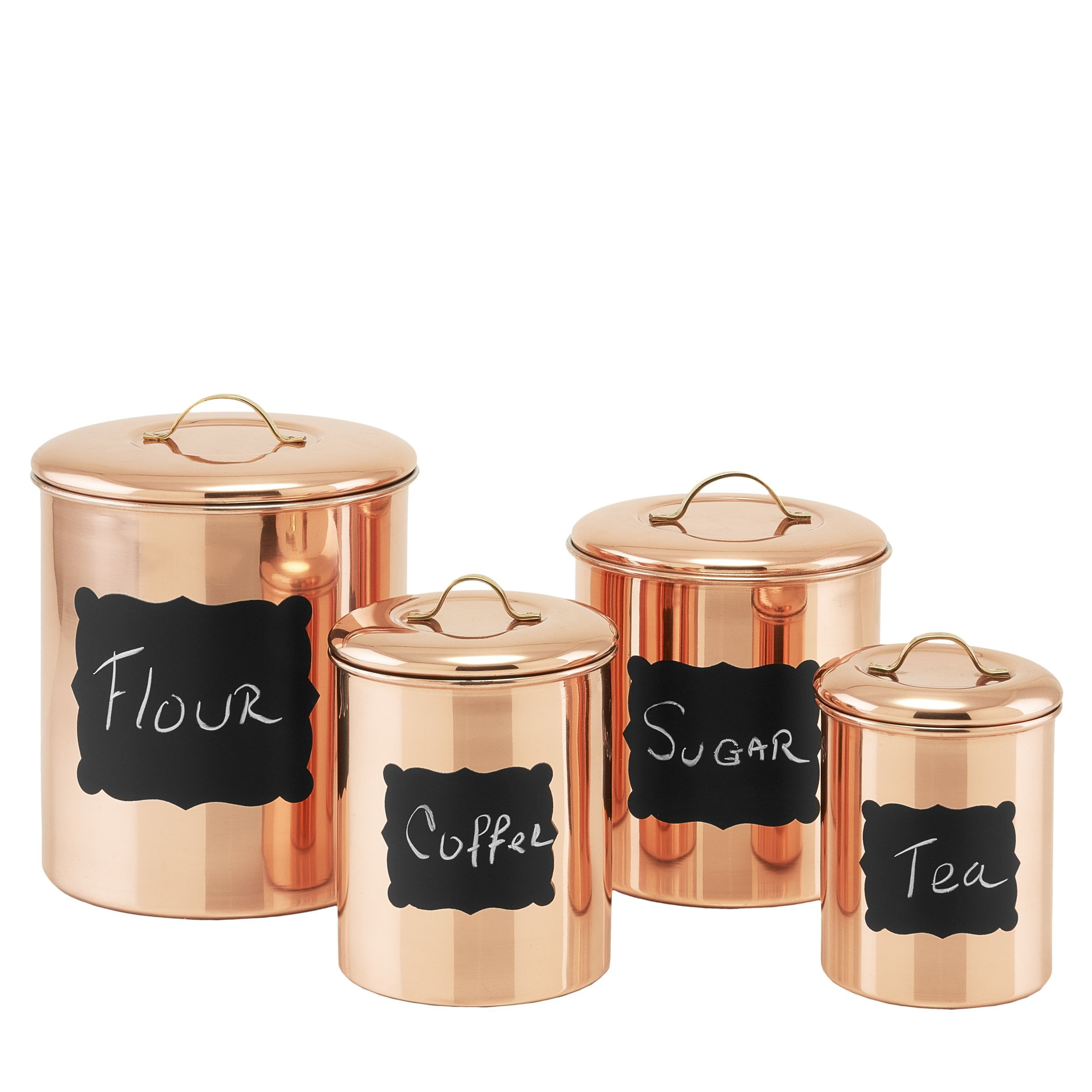 Old Dutch International 1143 Decor Copper Chalkboard Canisters with Fresh Seal Covers, Set of 4