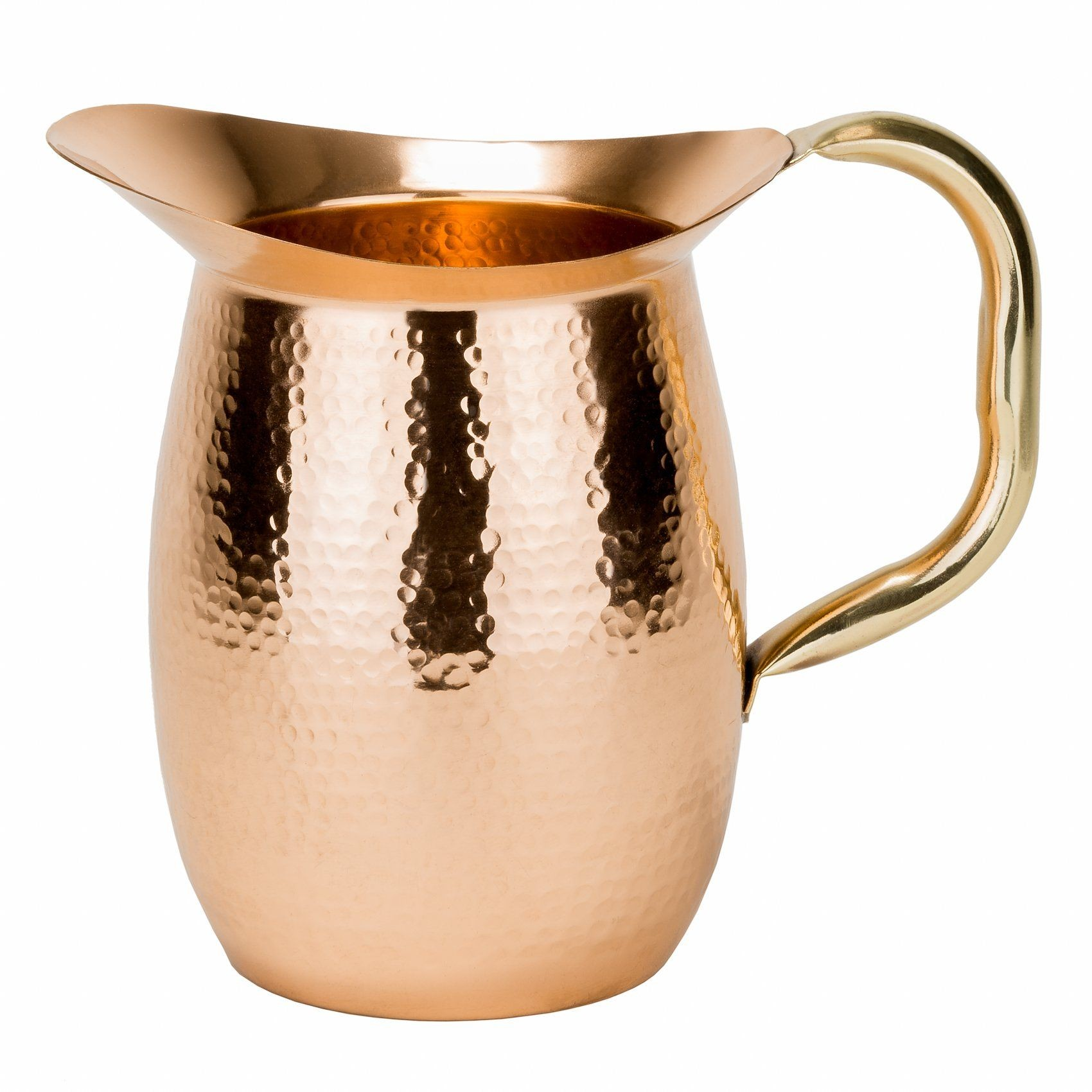 Old Dutch International 1203 Hammered Solid Copper Water Pitcher with Brass Handle, 2 Qt.