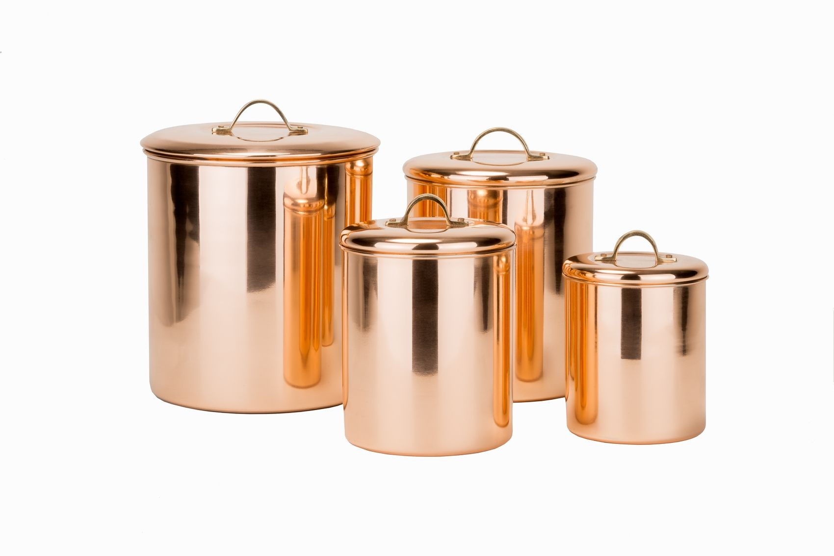 Old Dutch International 1243 Polished Copper Canisters with Fresh Seal Covers, Set of 4