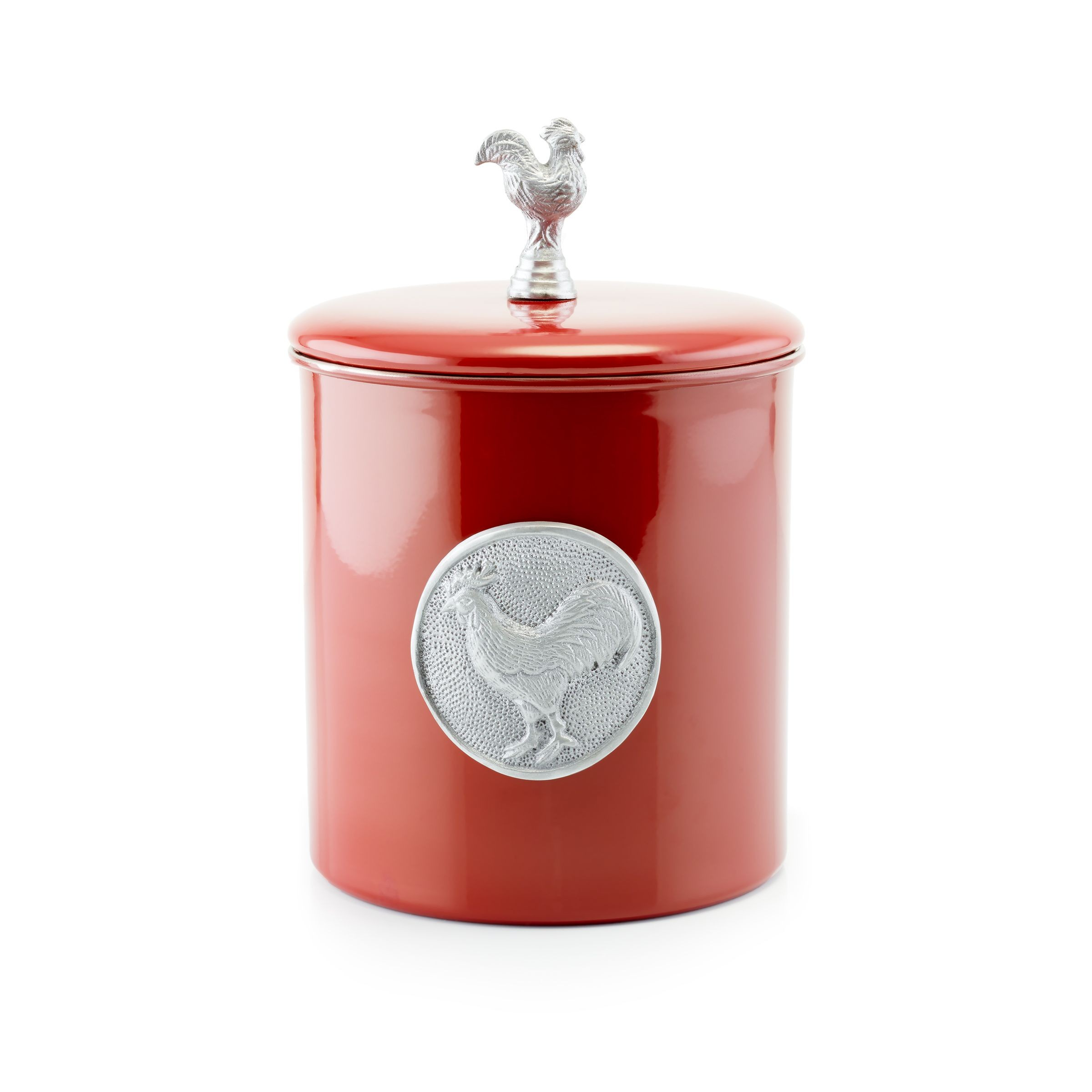 Old Dutch International 1744 Red Rooster Cookie Jar with Fresh Seal Cover, 4 Qt.
