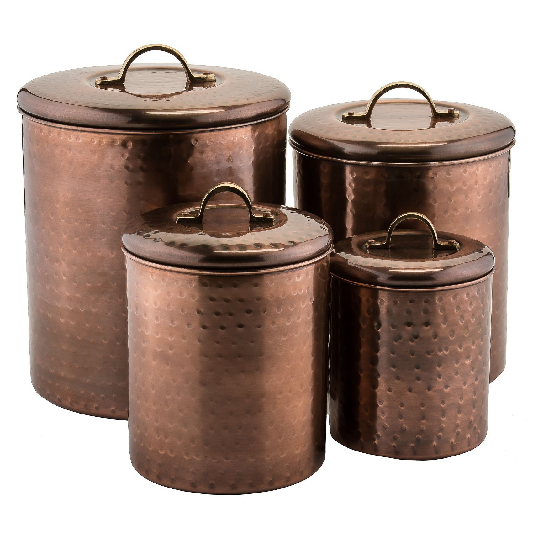 Old Dutch International 1843 Hammered Antique Copper Canisters with Fresh Seal Covers, Set of 4