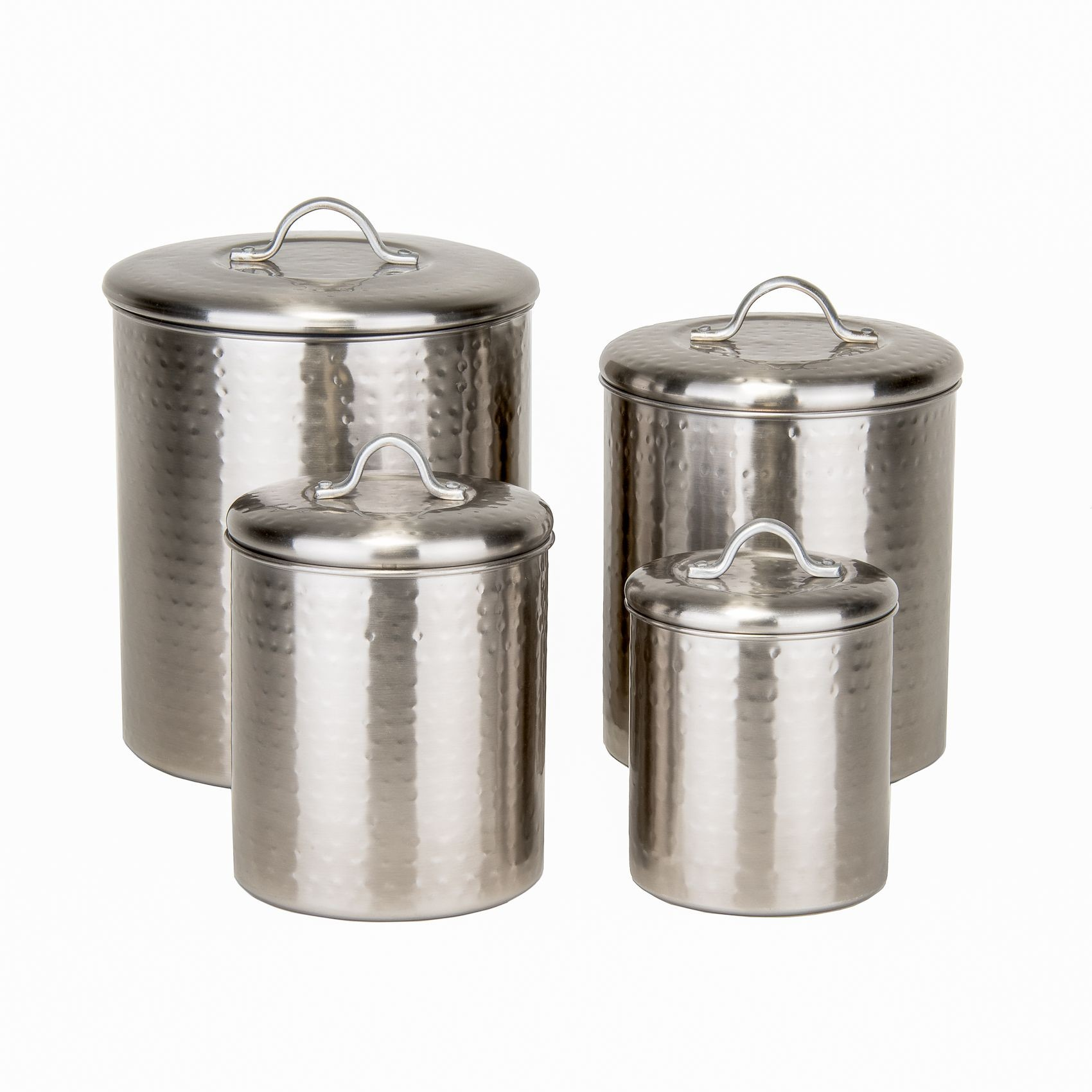 Old Dutch International 1943 Hammered Brushed Nickel Canisters with Fresh Seal Covers, Set of 4