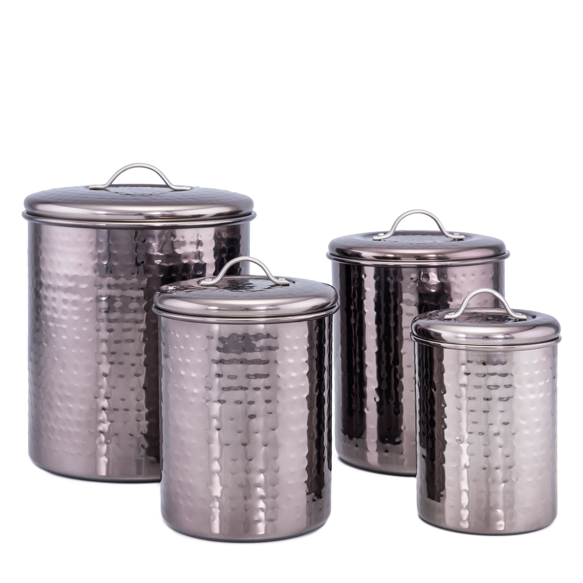 large kitchen canisters old dutch international 2043 black nickel hammered canisters with fresh seal covers set of 4 8625