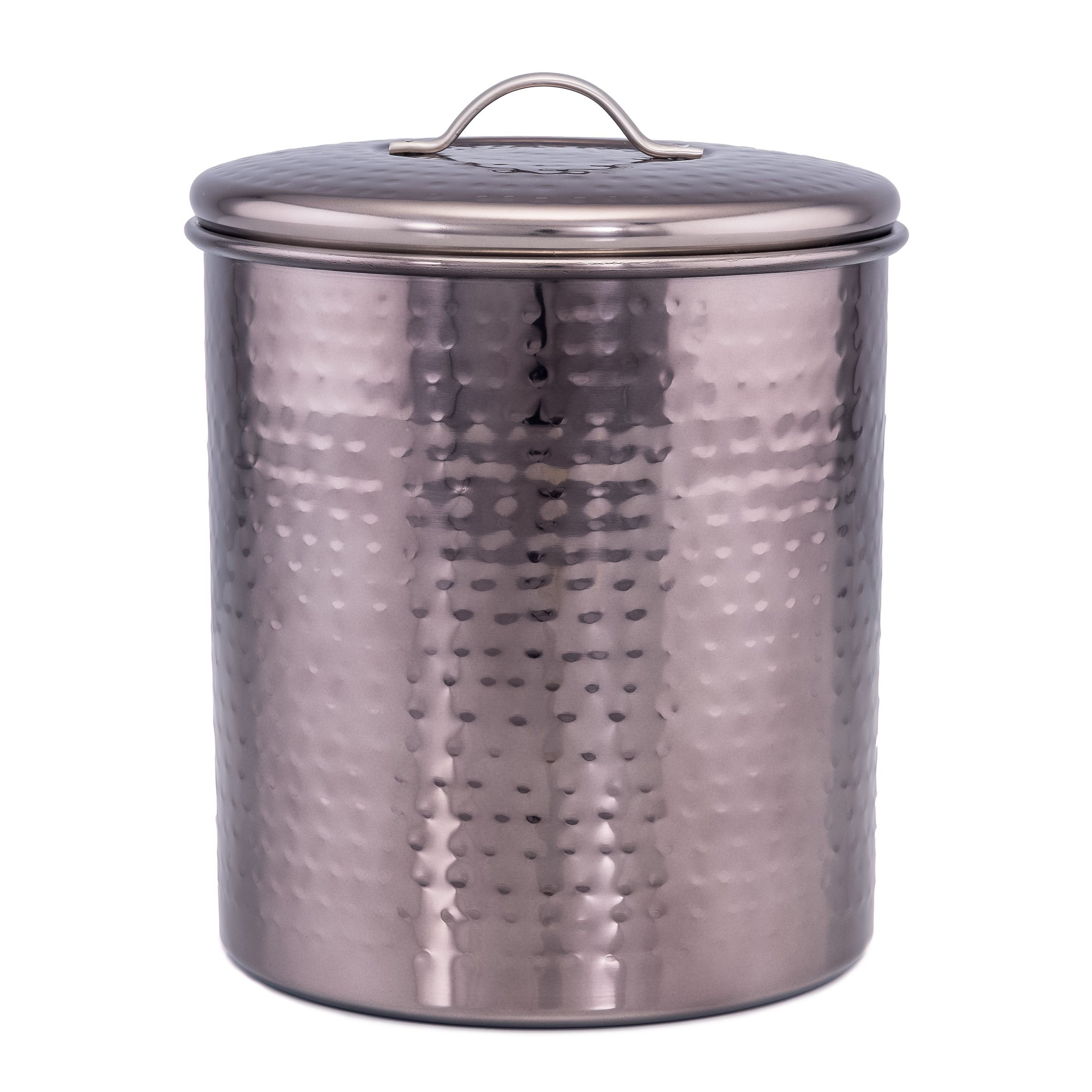 Old Dutch International 2044 Black Nickel Hammered Canister with Fresh Seal Cover, 4 Qt.