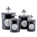 Old Dutch International 2730 Black Fleur de Lis Canisters with Fresh Seal Covers, Set of 4
