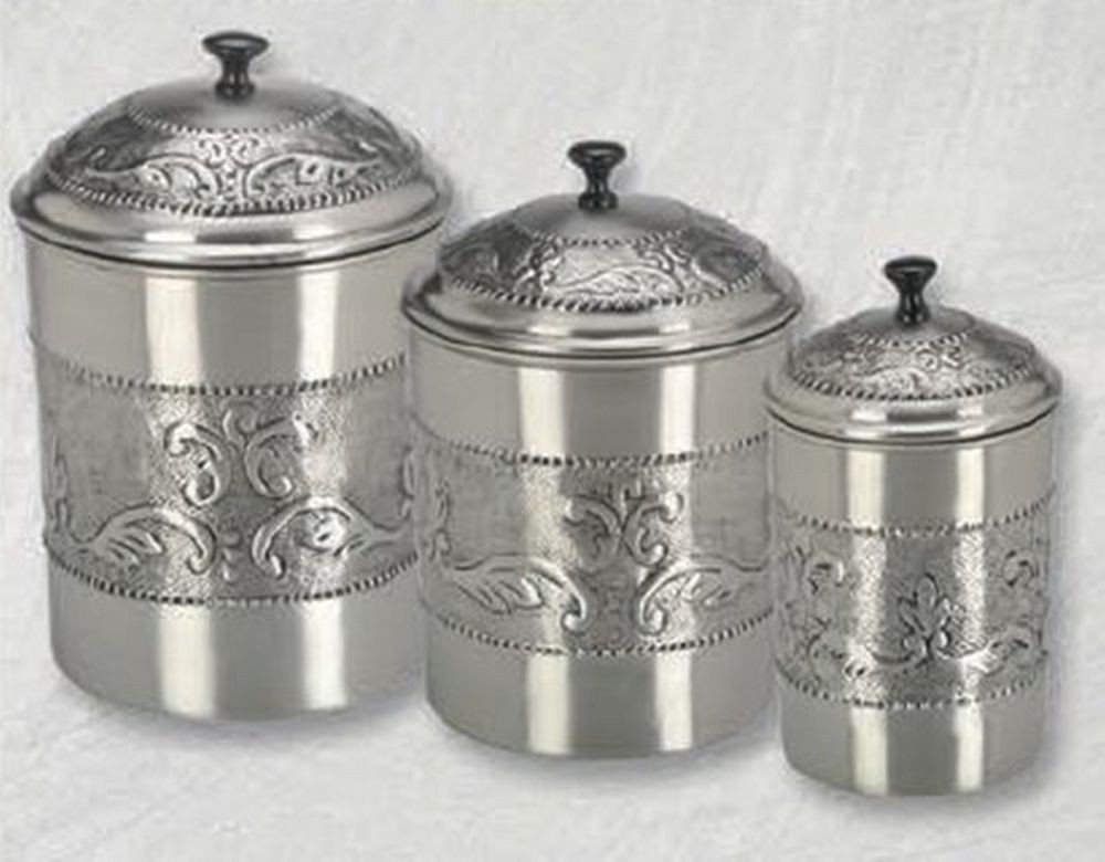 Old Dutch International 411 Antique Embossed Victoria Canisters with Fresh Seal Covers, Set of 3
