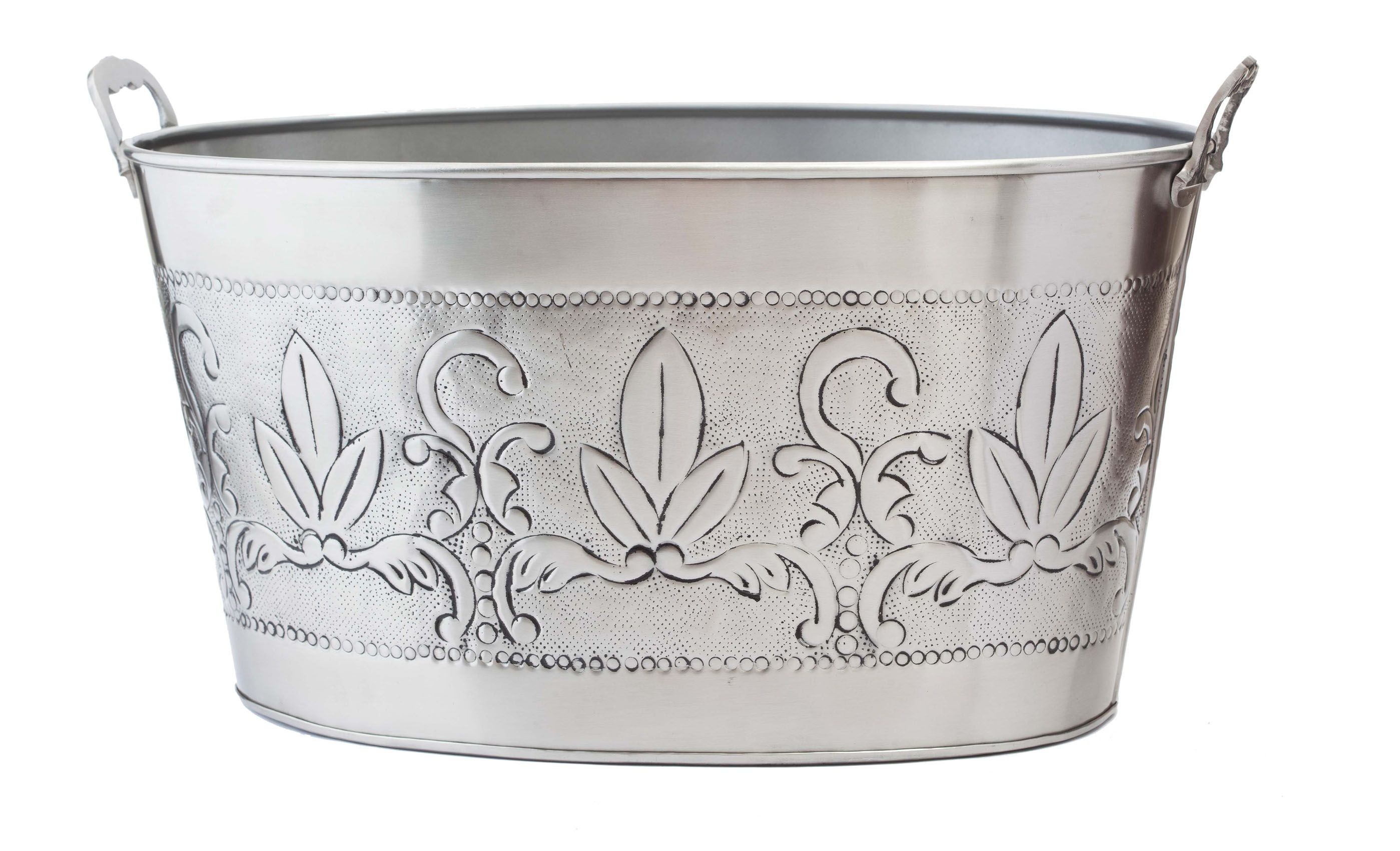 Old Dutch International 436 Antique Embossed Victoria Party Tub with Aluminum Handles, 5 1/2 Gallon