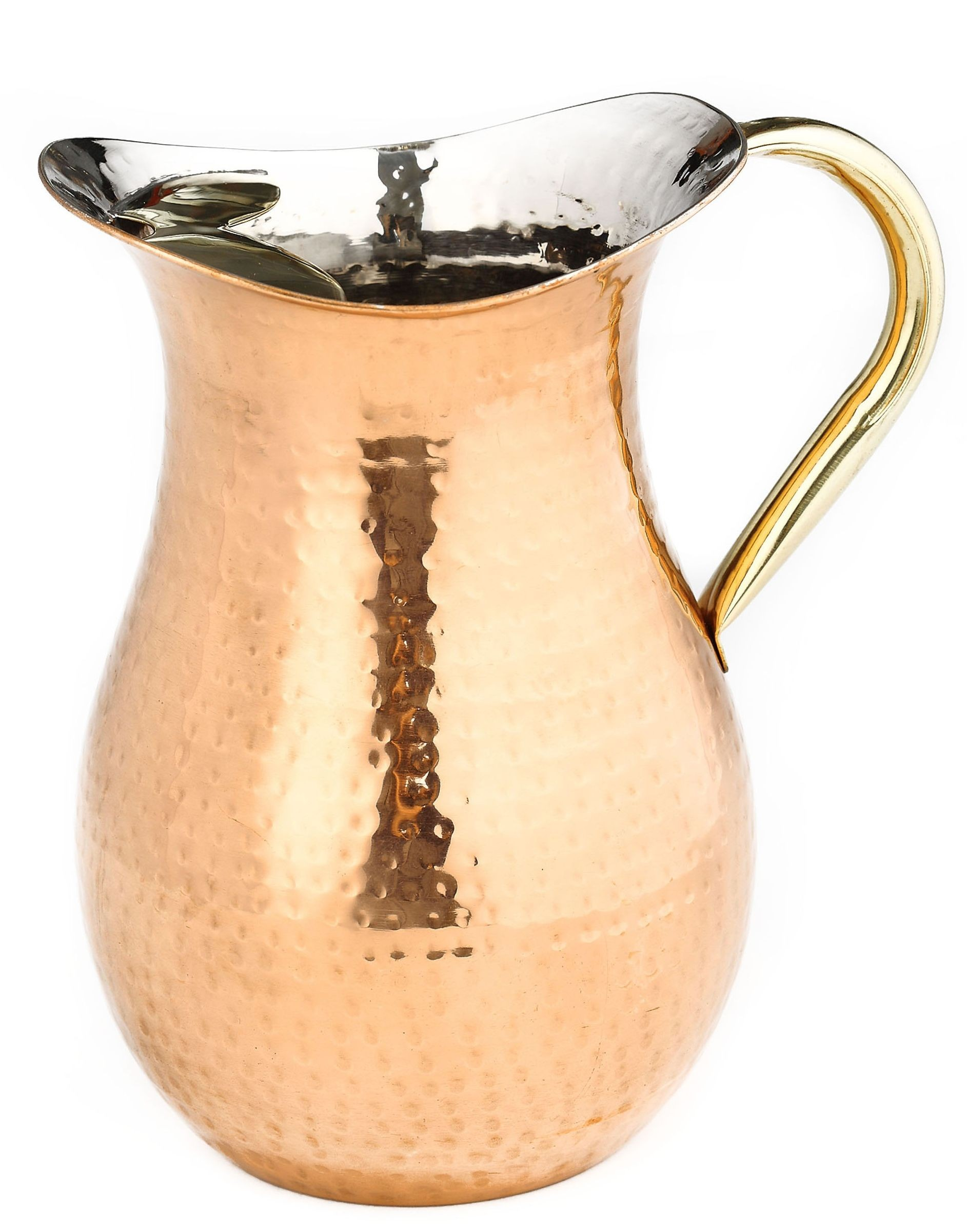 Old Dutch International 808 Decor Copper Hammered Water Pitcher with Ice Guard and Brass Handle, 2 1/4 Qt.