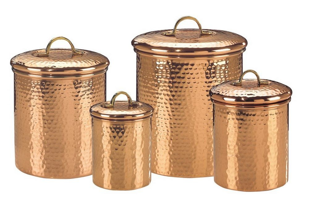 Old Dutch International 843 Decor Copper Hammered Canisters with Fresh Seal Covers, Set of 4