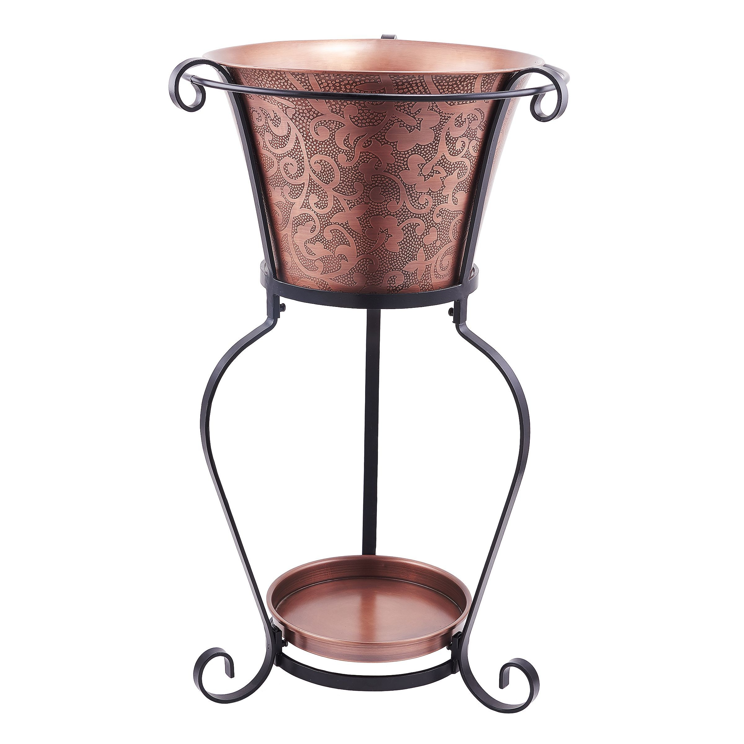 Old Dutch International 9360 Solid Copper Etched Beverage Tub with Stand, 5 Gallon