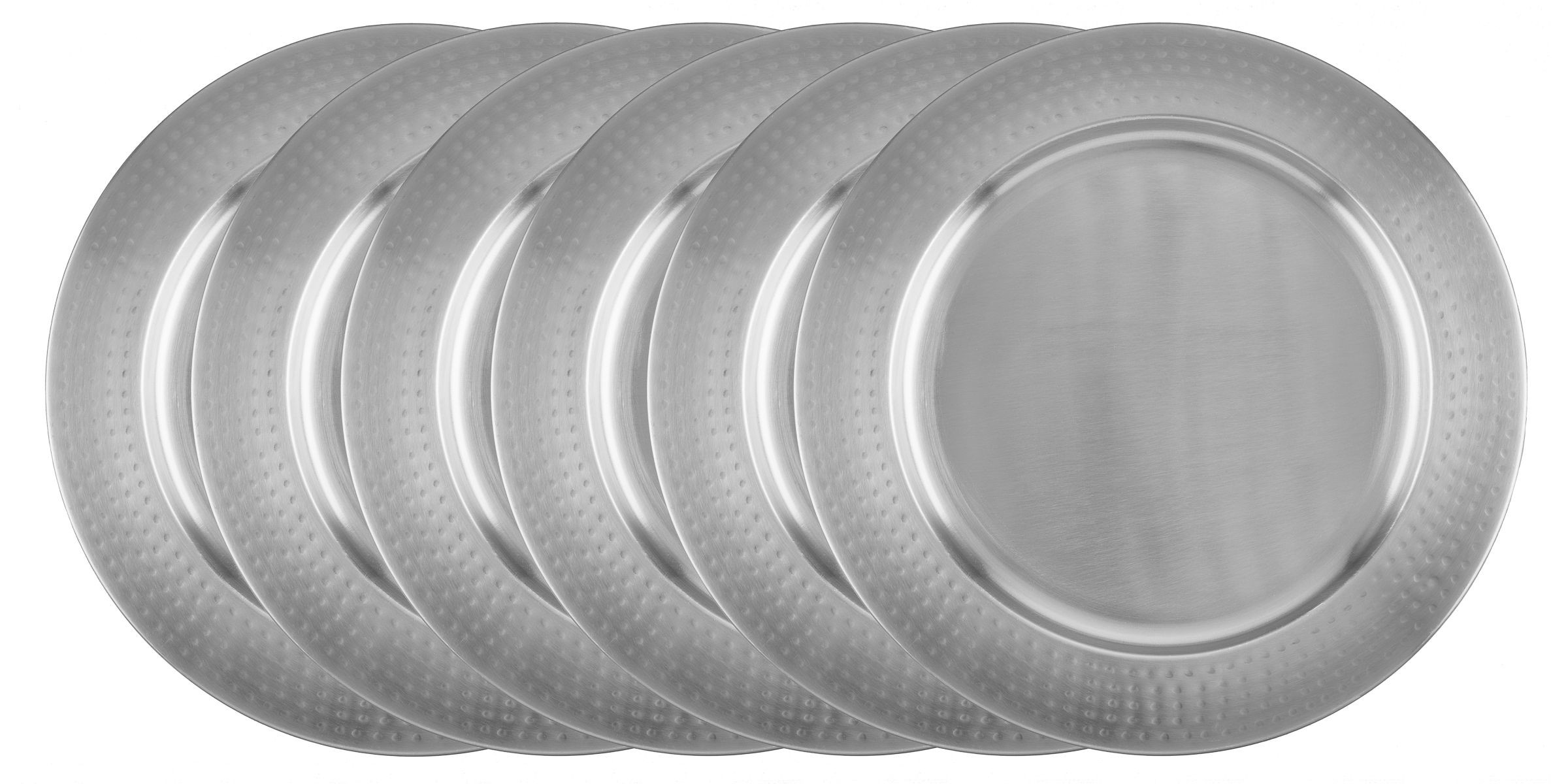 """Old Dutch International OS1966 Stainless Steel 13"""" Charger Plate with Hammered Rim, Set of 6"""