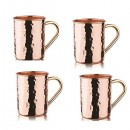 Old Dutch International OS440H Hammered Solid Copper Straight Sided Moscow Mule Mugs, Set of 4